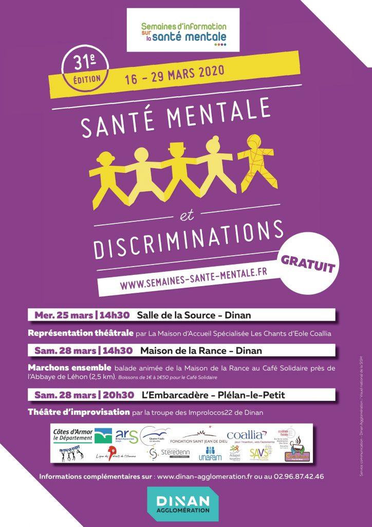 affiche semaine de la santé mentale et discriminations mars 2020