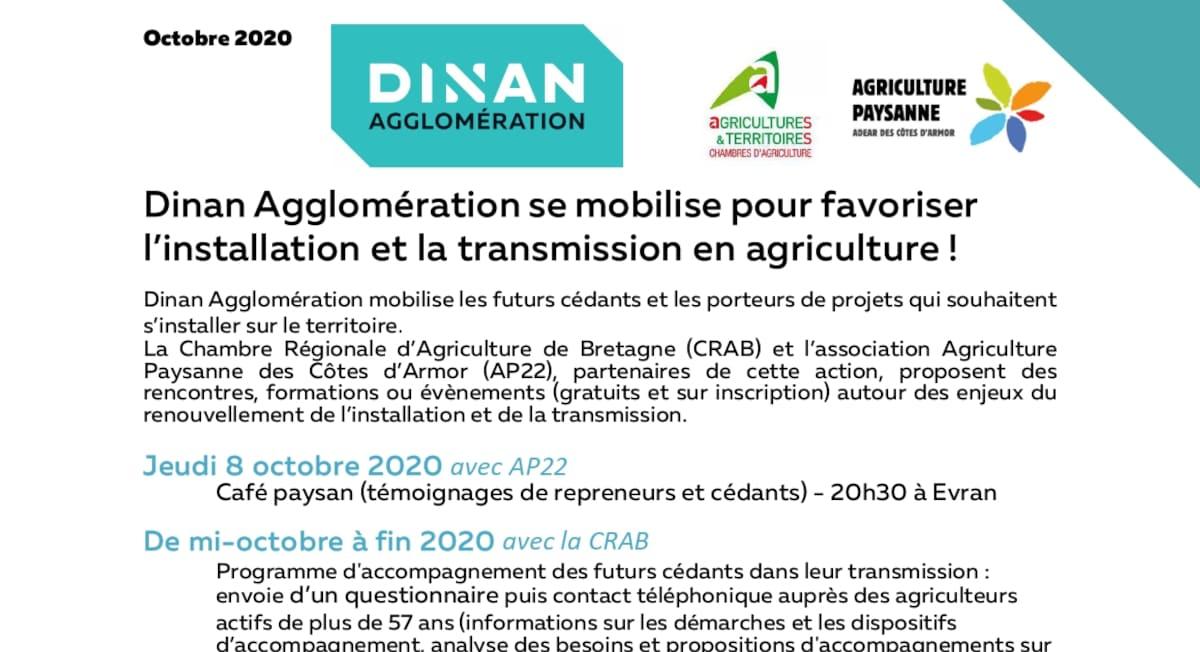 Dinan Agglomération se mobilise pour favoriser l'installation et la transmission en agriculture !